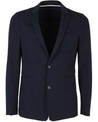 Paolo Pecora V-neck Cotton Blazer - Blue