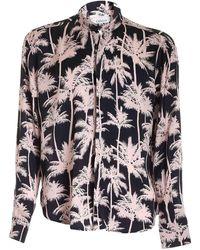 Laneus Palm Tree Print Shirt - Black