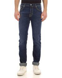 Jacob Cohen Yellow Logo Label Jeans