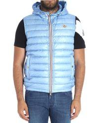 Moncler - Light Blue Gien Sleeveless Down Jacket - Lyst