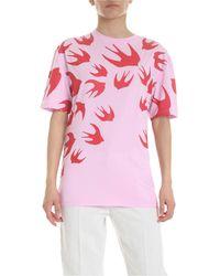 McQ T-Shirt Rosa Con Stampa Rondini