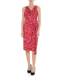 Diane von Furstenberg - Abito rosa e rosso stampato - Lyst