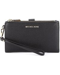 Michael Kors Jet Set Leather Double Zip Wallet - Black
