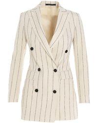 Tagliatore Pinstripe Cindy Suit - White