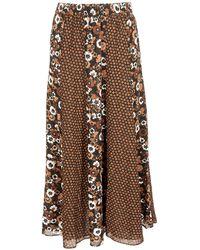 Michael Kors Long Floral Skirt - Brown