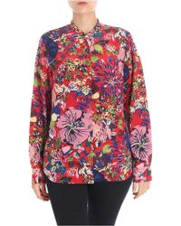 Aspesi Red Floral Printed Shirt
