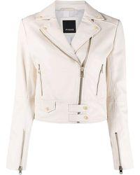 Pinko Sensibile 7 Leather Biker Jacket - White