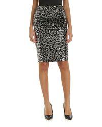 Michael Kors Animal Print Sequined Skirt - Black