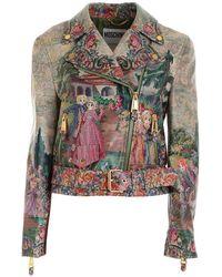 Moschino Cross Stitch Effect Print Multicolour Biker Jacket