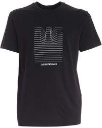 Emporio Armani Contrasting Embroidery T-shirt - Black