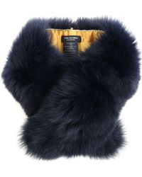 Yves Salomon Melange Dark Blue Fur Neck Warmer