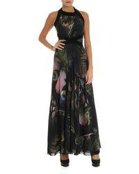 Fuzzi Butterfly Printed Tulle Dress - Black
