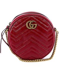 Gucci GG Marmont Mini Round Shoulder Bag Leather Ceris - Red