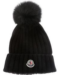 Moncler Wool Beanie With Pom Pom And Logo - Black