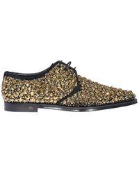 Dolce & Gabbana Derby A Punta Con Applicazioni Dorate - Metallizzato