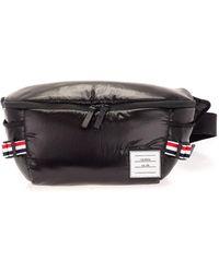 Thom Browne Logo Label Waist Bag - Black