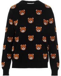 Moschino Pullover All-Over Teddy Bear Nero