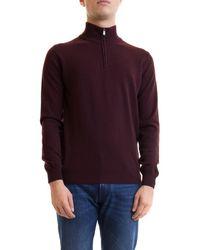 Corneliani Zipped High Collar Wool Sweater - Red