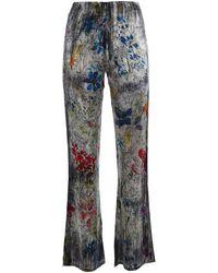 Avant Toi Stretch Silk Palazzo Trousers - Grey