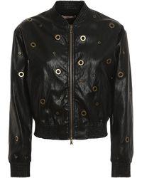 Twin Set Golden Eyelet Faux Leather Jacket - Black