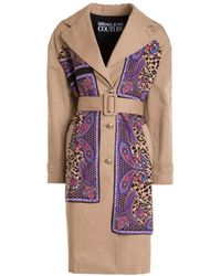 Versace Jeans Couture Leopard Paisley Detail Trench Coat - Natural