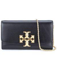 Tory Burch Eleanor Black Leather Clutch Bag