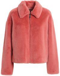 Twin Set Faux Leather Short Coat - Pink