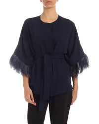 P.A.R.O.S.H. Ostrich Feathers Jacket - Blue