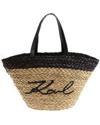 Karl Lagerfeld Straw K/ikonik Bag - Black