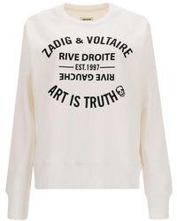 Zadig & Voltaire Felpa Con Stampa Logo Bianca - Bianco