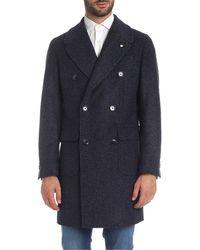 L.B.M. 1911 Herringbone Coat In Blue