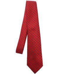 Kiton Contrasting Pattern Tie - Red