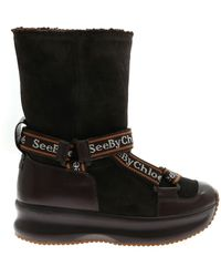 See By Chloé Branded Straps Ankle Boots - Black