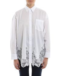Ermanno Scervino Poplin Cotton Lace Hem Shirt - White