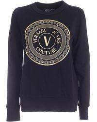 Versace Jeans Couture V-emblem Print Sweatshirt - Black