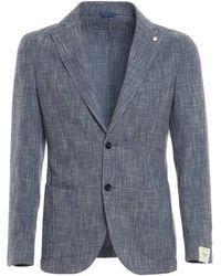 Luigi Bianchi Mantova Denim Effect Single-breasted Blazer - Blue