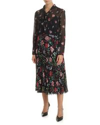 RED Valentino Black Dress With Cherry Blossom Print - Red