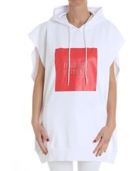 MSGM - White Oversized Sweatshirt - Lyst
