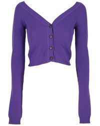 N°21 Buttoned Cropped Cardigan - Purple