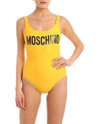 Moschino Low Back Logo Swimsuit - Yellow