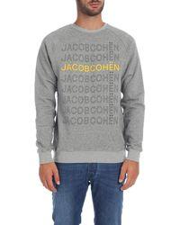 Jacob Cohen Gray Sweatshirt With Yellow Print