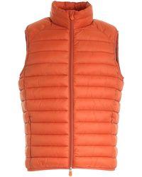 Save The Duck Logo Patch Sleeveless Down Jacket - Orange