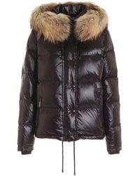 Fay Hood And Fur Down Jacket - Black