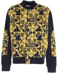 Versace Jeans Couture Felpa Nera E Gialla Stampa Logo Baroquew - Nero
