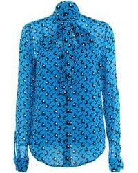 Michael Kors Floral Print Crêpe Shirt - Blue