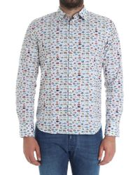 Paul Smith - Light-blue Shirt With Fish Prints - Lyst