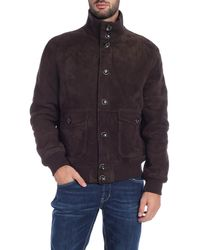 Paolo Pecora Brown Suede Bomber Jacket
