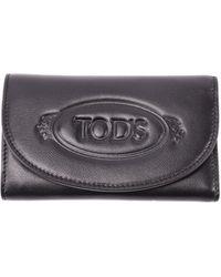Tod's Embossed Logo Leather Wallet - Black
