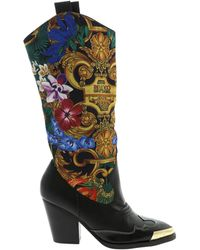 Versace Jeans Tropical Baroque Print Boots - Black