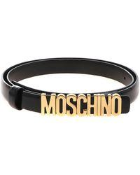 Moschino Cintura Nera Con Logo Dorato - Nero